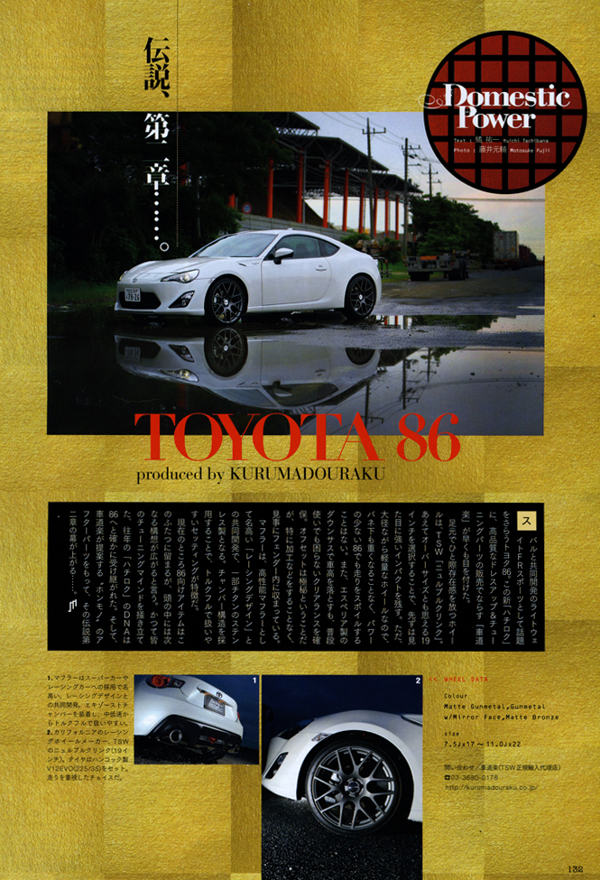 �uDOMESTIC POWER -��{�Ԃ̐��E-�v TSW �j�����u���N�����N�~TOYOTA 86���f�ڂ���܂����B
